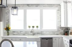DIY marble subway tile kitchen back splash