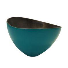Turquoise Glaze Asymmetrical Ceramic Bowl with Gold Interior by Sandi Fellman
