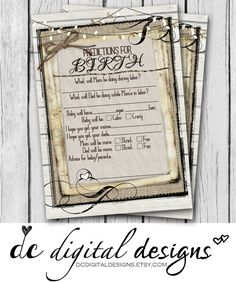 Predictions for Birth Card Girl Boy Baby Shower Game Baby Shower Games, Baby Boy Shower, Twine Game, Wood Scrapbook Paper, Baby Deco, Baby Shower Invitations, Babyshower Invites, Wood Patterns