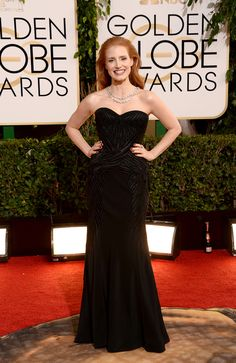 Jessica Chastain in is all glamour in black Givenchy - 2014 Golden Globes Red Carpet - Harper's BAZAAR Jessica Chastain, Golden Globe Award, Golden Globes, Givenchy, Blake Lively, Celebrity Red Carpet, Celebrity Style, Celebrity Gossip, Beautiful Dresses