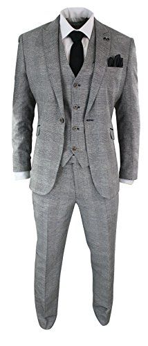 b0f62f824e2 Cavani Mens 3 Piece Herringbone Tweed Black Grey Check Suit Tailored Fit Retro  Vintage Complete With
