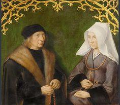 Death of the Virgin: 'Dirck Borre van Amerongen and his wife Maria van Snellenberg, ca. 1515