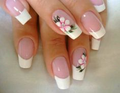 Flaunt the pink base and dazzling white tipped nails with the perfect French manicure. Go through the tips, procedure and striking French manicure ideas here. Flower Nail Designs, Pretty Nail Designs, Flower Nail Art, Toe Nail Designs, Nail Polish Designs, French Manicure Nails, French Tip Nails, Manicure Ideas, Nail Ideas