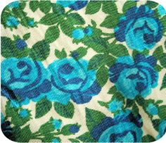 blue & green floral fabric x