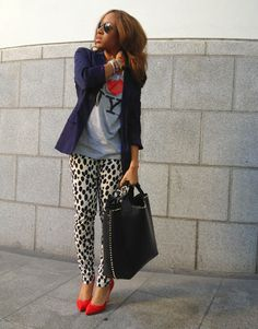 Love the concept. Basic print tee with stand-out pants and heels and a blazer to bring it all together