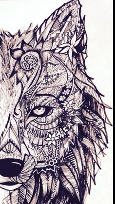 Tribal wolf art by me :)