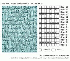 Rib and Welt Diagonals - Pattern 2 | Knit - Purl stitches