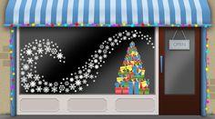 seasonal shop window display ... make snowflakes using puffy paint technique or hot glue