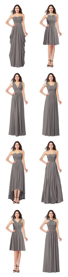 These 8 gray chiffon bridesmaid dress are hot for 2016, including strapless, V neck, square neck, sweetheart.