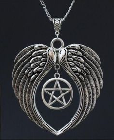Silver Pentagram With Angel Wings Necklace (Free Shipping)