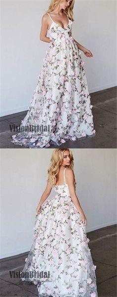 Spaghetti Straps V-Neck Open Back Flower Applique Tulle Floor Length Prom Dress, Beautiful Prom Dress,VB0280 #promdress