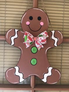 Excited to share the latest addition to my shop: Gingerbread boy door hanger. Christmas Door Decorating Contest, Christmas Door Decorations, Christmas Yard, Burlap Christmas, Porch Decorating, Christmas Crafts, Christmas Door Hangers, Gingerbread Crafts, Christmas Gingerbread