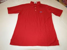 Izod LaCoste M red polo knit polo shirt Men's gator RARE adult GUC @ #Lacoste #PoloRugby