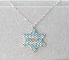Star of david necklace Jewish jewelry Magen david Judaica Jewelry Turquoise Star of David Bat mitzvah necklace Beaded Jewelry Designs, Bead Jewellery, Jewelry Bracelets, Loom Beading, Beading Patterns, Body Jewelry Shop, Jewish Jewelry, Star Of David, Turquoise Beads