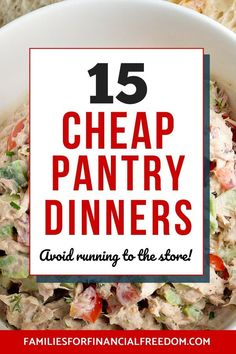 Check out these 15 quick and easy pantry meals recipes to help you save time and money! Save money with these cheap pantry meal ideas! Don't blow your grocery budget; make these simple pantry dinner meals that can be ready in 30 minutes or less! Cheap Easy Meals, Cheap Dinners, Frugal Meals, Budget Meals, Frugal Recipes, Cheap Recipes, Cheap Food, Food Budget, Easy Budget