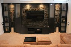 Entertainment Wall Design Ideas, Pictures, Remodel, and Decor - page 27 Tv Wall Design, House Design, Entertainment Wall, Contemporary Entertainment Center, Tv Wall Decor, Home Theater Design, Living Room Tv, Stone Wall Living Room, Basement Remodeling