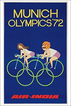Air India - Munich Olympics '72 Vintage Poster (12x18 Col... http://a.co/jeyXiF7