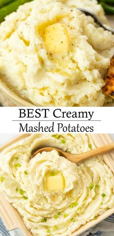 These Smooth and Creamy Mashed Potatoes are so easy to make! They make the best side dish for chicken steak and more! Potato Sides, Potato Side Dishes, Best Side Dishes, Side Dish Recipes, Mashed Potato Recipes, Creamy Mashed Potatoes, Cheesy Potatoes, Baked Potatoes, Side Dishes For Chicken