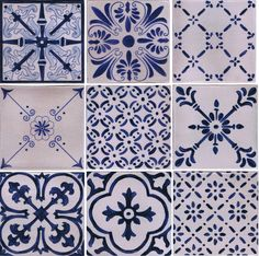 All my favorite designs of blue and white #kitchentiles.  Hand painted on Italian terra cotta with a antique crackle finish.
