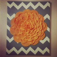 Felt Flower on chevron painted canvas