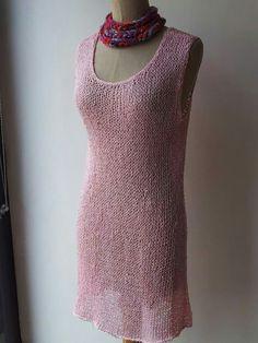 Vestitino rosa in cotone makò con filo di perline inserito