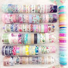 """stephaniexjade: i just tried to organize my washi tapes... i now got 2 sections: my """"basics"""" and my """"specials"""" (including the very thin tapes, even tho they're kinda """"basic"""") on the picture you can see all my special washis"""