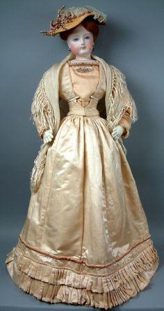"Spectacular ALL ORIGINAL 34"" Fashion Poupee Bride by Francois Gaultier in Her Original Antique Silk Costume!"