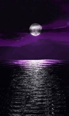 Purple moonlight reflecting on water