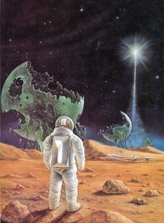 Surreal scifi painting by Rick Sternbach (Star Trek) 1979
