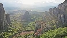 The Rousanou Monastery is one of six monasteries at Meteora. The monasteries of Meteora, Greece Athens Nightlife, Athens City, Mount Olympus, Holiday Places, Innsbruck, Adventure Tours, Thessaloniki, Roadtrip, Cappadocia