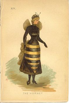 The Hornet and The Incroyable -from the book, Fancy Dresses Described by Ardern Holt, 1887. This book gives advice on what to wear to fancy dress balls or masquerade balls and includes many illustrations. Have some Halloween costume inspiration from the Victorian Era!  Source : http://fuckyeahvictorians.tumblr.com/post/34712916014/thedailyvictorian-re-posting-two-costume