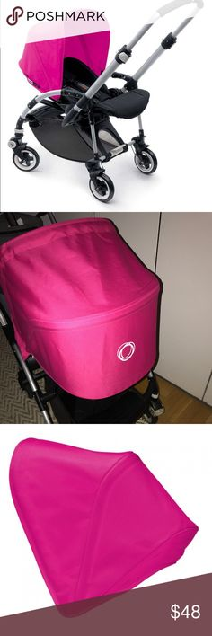 Bugaboo sun canopy in hot pink / magenta Like new Bugaboo sun canopy. The listing is for the pink sun canopy only. Purchased multiple colors and never used the Hot Pink sets. According to bugaboo the material is Bamboo charcoal modified polyester regulates the temperature and wicks away the moisture of the child. We used the same set in another color and the kids love it. bugaboo Other