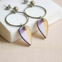 Small Leaf Stud Earring in Lilac and Bronze made of by vadjutka, Small Leaf, Jewelry Accessories, Unique Jewelry, Artisan, Bronze, Stud Earrings, Jewels, Trending Outfits, Handmade Gifts