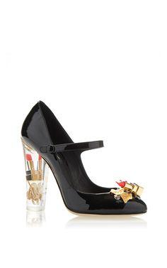 Lipstick Patent Mary Jane Pump With Transparent Plexi Heel by Dolce & Gabbana