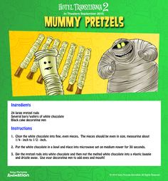 Party down with Murray when you make this quick and easy recipe for white chocolate coated Mummy Pretzels! | Hotel Transylvania 2