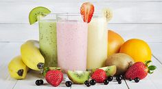 Fruit smoothies are a popular refreshment not only for adults but even for the little ones as well. With their natural sweet flavors, it is no wonder that many children love fruit smoothies and can… Fruit Smoothies, Healthy Green Smoothies, Lunch Smoothie, Fruit Fruit, Smoothie Prep, Smoothie Cleanse, Smoothies Sains, Smoothie Recipes For Kids, Drink Recipes