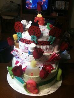 Ladybug themed diaper cake for baby shower