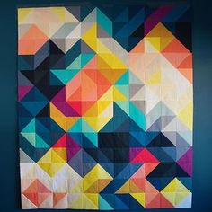 modern quilt | tessellation quilt | solid half square triangles