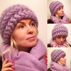 """Купить Шапка """"Фиалка"""", вязаная из кид-мохера, вязанная, теплая, женская - шапка, шапка вязанная"""