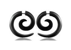 Wooden Earring -Fake Gauge-Spiral Faux-Gauge earrings. by NELAJAPAN on Etsy