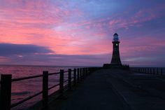 灯台, 日の出, 空, 昇る太陽, サンダーランド, 桟橋, 摩耗