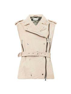 Etoile Isabel Marant Bracken sleeveless leather biker jacket on shopstyle.com