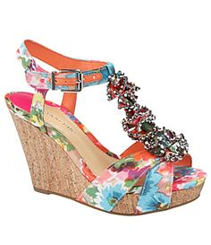 cac6d2bf8eb Gianni Bini Blossom T-Strap Platform Wedge Sandals