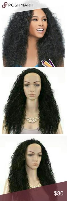 """OUTRE Synthetic Hair Half Wig Qucik Weave Roxy Half wig """"Roxy"""" jet black color 18"""" length synthetic wig but feels and looks just like human hair. Perfect fot with adjustable straps and combs.   Washing Instructions:  Detangle the hair before washing.Soak the wig using mild conditioning shampoo.Gently swish the hair and avoid pulling or rubbing.Condition & rinse by letting water run through.Pat-dry excess water.Gently finger brush and lay hair on flat surface to dry.Dry naturally or use blow…"""