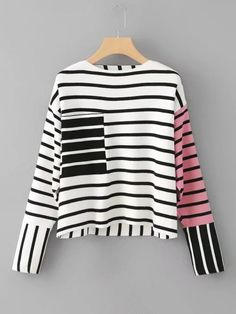 Shop Front Pocket Striped Knitwear at ROMWE, discover more fashion styles online. Kpop Outfits, Fall Outfits, Cute Outfits, Fashion Outfits, Womens Fashion, Quirky Fashion, Daily Fashion, Creation Couture, Cute Tops