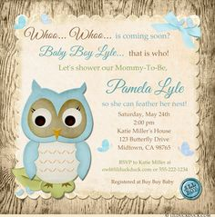 Shabby chic owl baby shower pink or blue teal shabby owl invite all baby boy owl shower invitations blue cream woods filmwisefo