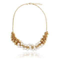 """Clo Clo London - Priscilla. Shiny statement necklace with mixed-coloured pearls and gold-coloured beads Length: 45cm (17.7""""):"""