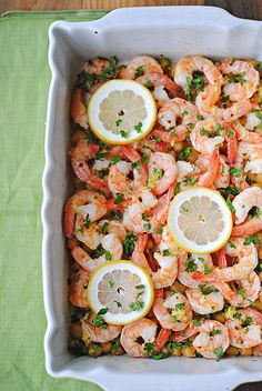Lemon and Garlic Shrimp with Chickpeas - Eat Yourself Skinny One pan shrimp and chickpeas tossed together with garlic and fresh herbs then drizzled with refreshing lemon juice for a perfect light meal! Shrimp Recipes Easy, Seafood Recipes, Healthy Dinner Recipes, Skinny Recipes, Healthy Meals, Healthy Cooking, Healthy Eating, Cooking Recipes, Clean Eating