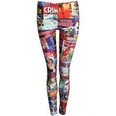 Pilot Carina Cartoon Print Leggings ($40) ❤ liked on Polyvore featuring pants, leggings, multi, comic book, stretchy pants, stretch leggings, multi colored leggings and comic print leggings