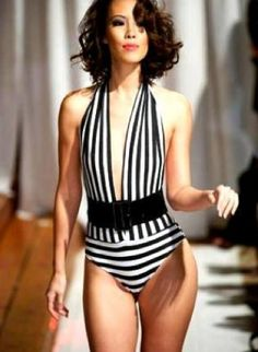 Black and white striped one piece .Plunge neckline sexy bathing suit